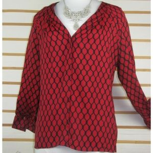 Silky poly buttoned long sleeved blouse Honey comb